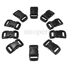10 x 10mm Black Plastic Side Release Buckles For Webbing Bags Straps Clips 3/8""