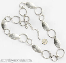Chico's Signed Necklace Beautiful Long Silver Tone Chunky Leaf Link Twist Chain