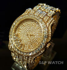 Luxury 14k Gold Finish Hip Hop Iced Out Watch Bracelet Lab Diamond Roman Numeral
