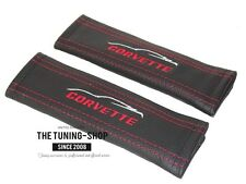 "2 x Seat Belt Shoulder Covers Pads Leather ""Corvette"" Embroidery For Corvette"