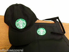 Christmas Gift  New Logo Black Starbucks barista apron and hat set,both adjust
