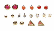 9 PAIRS OF FUNKY RED/PINK/ORANGE TRIANGLE/BALL/STAR STUD EARRINGS (CL27)