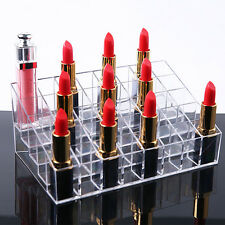 Clear Acrylic 40 Lipstick Nail Holder Cosmetic Organizer Makeup Case Display Box