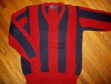 vtg 90s RALPH LAUREN POLO SWEATER V-Neck Pullover Red Blue Stripe Chunky Knit M