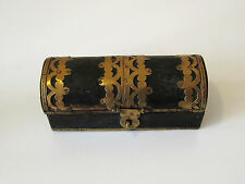 Fine Old Chinese Wooden Box or Casket - Domed Lid - Brass Bound Decoration