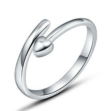 Silver Plated Opening Ring Finger Band Women Cheap Heart Sz 7 Rings Love Cute j