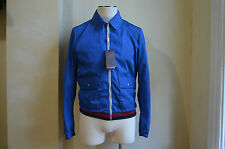 GUCCI BLUE SIGNATURE STRIPES NYLON BOMBER WAIST COAT JACKET S 48 38 M