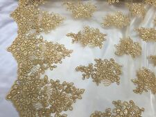 Gold Flower Lace Corded And Embroider With Sequins On A Mesh.wedding/bridal/prom