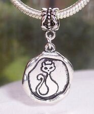 Cat Wax Stamp Kitty Halloween Medallion Dangle Bead fits European Charm Bracelet