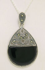 Marcasite .925 Sterling Silver Open Black Onyx Half Circle Pendant w/ Chain