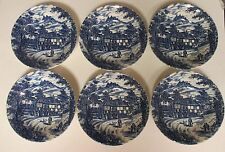 6 Swan Inn Broadhurst Staffordshire England Ironstone Blue Soup Cereal Bowls