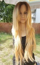 Ombre Dark Roots To Blonde Lace Front Wig human hair blend? Hair 27''