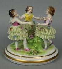 """Antique German Muller Volkstedt figurine """"Three Dancing Girls"""" WorldWide"""