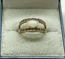 Vintage Lovely 9ct Gold Opal And Tanzanite Ladies Ring