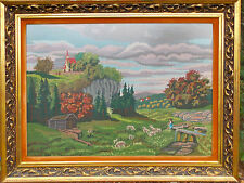 LARGE HAND CRAFTED NEEDLEPOINT FRAMED