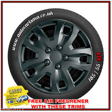 "14"" Renault Clio Wheel Trims Hub Caps X 4 Jet Black Stylish Quality Black Finish"