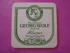 Vintage Beer Coaster ~*~ GEORG WOLF Pilsener, Reichenberg ot Fuchsstadt, GERMANY