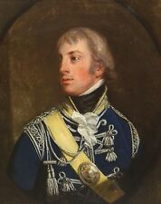 18th Century Portrait British Military Officer Antique Oil Painting Napoleonic