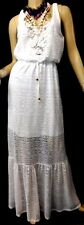 MAURICES WHITE TRIBAL NET LINED SLEEVELESS SEXY SUMMER cruiSE MAXI DRESS 0, XL