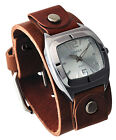 Nemesis BGB090S Women's Retro Collection Brown Wide Leather Cuff Band Watch