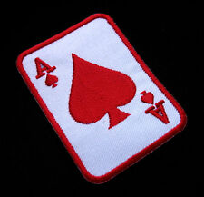 Poker Card Ace A Red Spade Embroidered Iron on Patch + Free Shipping