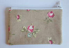 Vintage Shabby Chic Rosebud Fabric Handmade Zippy Coin Purse Storage Pouch
