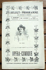 THEATRE/OPERA COMIQUE/PROGRAMME/WERTHER/GOETHE/VERS 1910