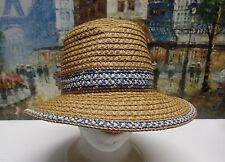 Eric Javits Big Deal Fedora Hat in Natural/Blue - $165