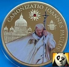 LARGE 70mm Pope John Paul 2014 Canonization Proof Medal Gold Plated & Swarovski