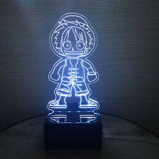 3D Anime One Piece Strawhat Luffy Night Light Decor Acrylic LED Table Desk Lamp