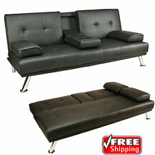 Sofa Bed Black Faux Leather Click Clack Double Settee 2 to 3 Seater Modern Couch