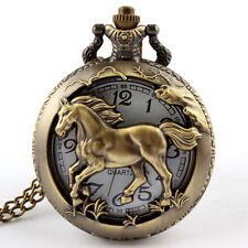 Bronze Hollow Horse Ritmeester Necklace Pocket Watch Kids Boy Men Gift CA P247
