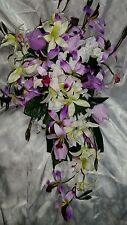 Orchid wedding flowers 29pc set. Cascade bouquet