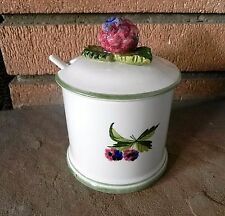 MANCIOLI BERRY JELLY JAM JAR Hand Painted In Italy T199 VINTAGE