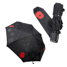 AUTO OPEN CLOSE UMBRELLA WINDPROOF FOLDING COMPACT TELESCOPIC POPPY DESIGN NEW
