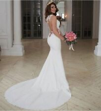 White/Ivory Mermaid Bridal Gown Wedding Dresses Custom Size 6-8-10-12-14-16+