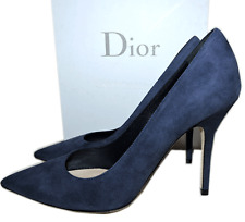 CHRISTIAN DIOR CHERIE POINTY TOE NAVY BLUE SUEDE PUMP SHOES  37.5 - 7