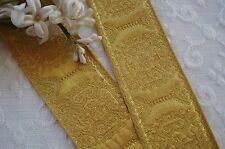 1y FANCY GOLD METALLIC BROCADE JACQUARD RIBBON TRIM VINTAGE FRENCH VICTORIAN