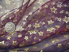 PRINTED ORGANZA-TWINKLING STARS-WINE/GOLD -DRESS FABRIC-FREE P&P