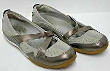 Clarks Privo Mary Jane Shoes Slip On Leather Upper Metallic Straps Size 8.5 M