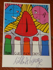 GILBERT & AND GEORGE ~ TONGUE F*CK C*CKS ~ HAND SIGNED EXHIBITION ART POSTCARD