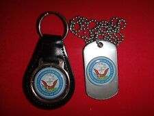 US NAVY Black Leather Key Ring + Matching Dog Tag *New*