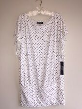 ($136) NWT DKNY COVER UP SIZE LARGE WHITE POLKA DOT DRESS SUPER SOFT BEACH
