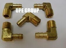 (5 Pieces) 5/16 HOSE BARB ELBOW X 1/4 MALE NPT Brass Pipe Fitting Gas Fuel Water
