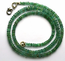 """56.50 CT 16.5"""" 100% Natural Green Emerald Faceted Rondelle beads Necklace 3- 5MM"""