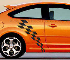 Focus Car Body Sticker, Racing Checker Flag Side Stripe Custom Graphic Decal