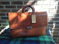 RARE VINTAGE DISTRESSED ITALIAN SADDLE LEATHER LAPTOP BRIEFCASE BAG R$1198