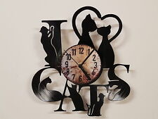 I Love Cats vinyl record clock home decor gift