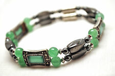 LADIES 8 IN. HEALING MAGNETIC DOUBLE BRACELET: Black Hematite & Jade; 4 Pain!