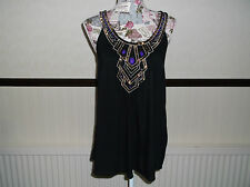 LADIES LOVELY SLEEVELESS BEADED DRESSY TOP. . SIZE 12. BLACK.  see pic.